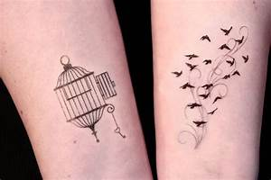 Open Cage and Birds in Flight Temporary Tattoo set by ...