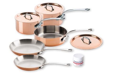 mauviel copper ms  piece cookware set demiba