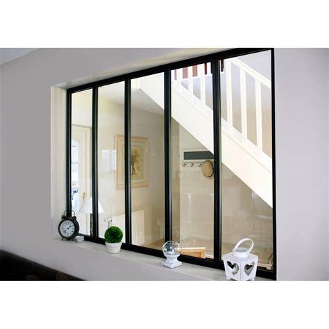 verriere d atelier verri 232 re d int 233 rieur atelier en kit aluminium noir 5 vitrages h 1 08 x l 1 53 m leroy merlin
