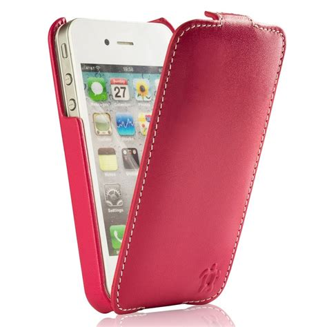 housse pour iphone 4 4s cuir fuchsia blanc collection prestige