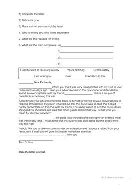 6 FREE ESL formal letter MP worksheets