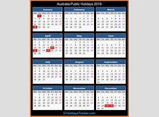 Yearly Printable Calendar 2019 With Australia Holidays