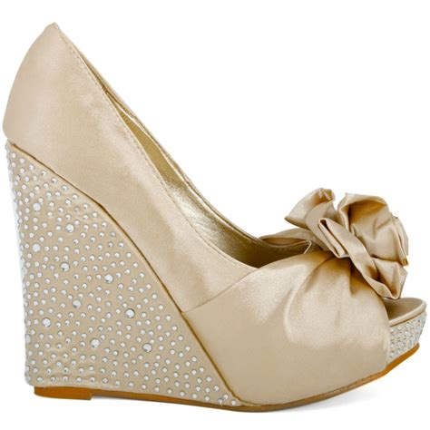 light gold wedding shoes ladies light gold wedge heels womens bridal formal satin