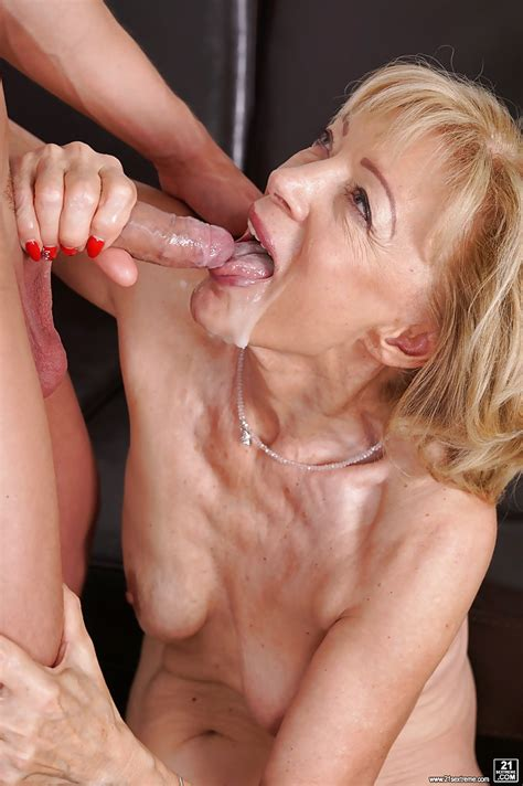 Old Blonde With Saggy Tits Szuzanne Sucks Young Dick And