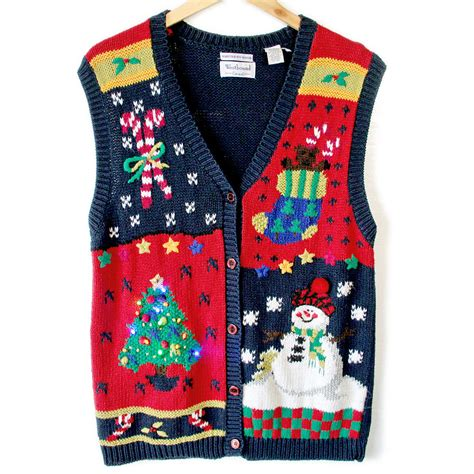 light up christmas sweaters sale vintage 90s light up ugly christmas sweater vest the
