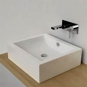 vasque a poser rectangulaire 50x45 cm ceramique pure With vasque carrée à poser salle de bain