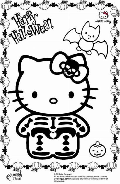 Halloween Kitty Hello Coloring Pages Colouring Scary