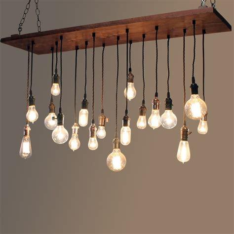 exposed light bulb chandelier vintage industrial loft wood plank 18 light large linear
