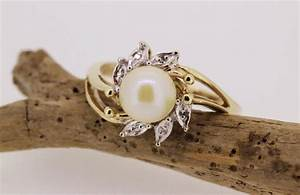SALE Vintage Pearl Engagement Ring 10k Yellow Gold Ring ...