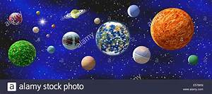 Illustration of a group of generic, not real, planets and ...