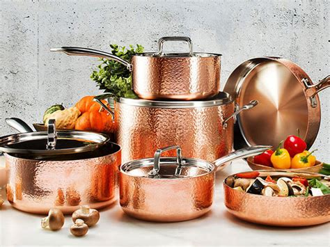gotham steel hammered copper  piece  stick ti ceramic cookware set  lids citizen goods