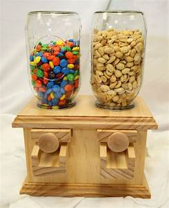Hand-made DOUBLE Wooden Candy Dispenser - M&M Peanut