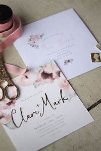 Wedding Stationery Pink Floral Gold Just My Type