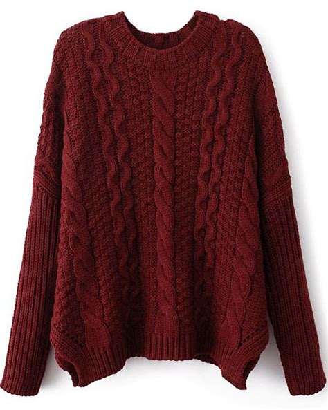 knitted sweaters wine sleeve cable knit sweater shein