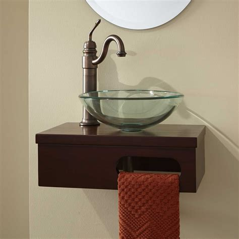 wall mounted vanities for small bathrooms 18 quot dell mahogany wall mount vessel vanity with towel bar