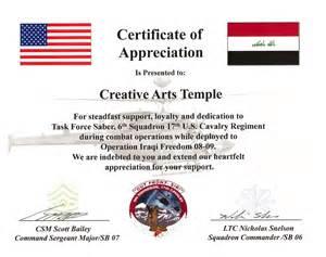 U.S. Army Certificate of Appreciation Template
