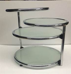 Midcentury baughman reproduction silver chrome round tier for Three tier glass coffee table