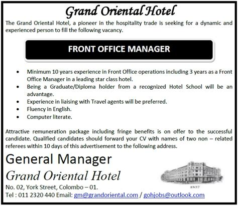 front desk job openings front office manager job vacancy in sri lanka