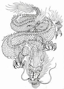 Black Outline Japanese Dragon Tattoo Design
