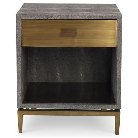 Brass Nightstands by Mr Brown Odette Modern Classic Charcoal Faux Shagreen