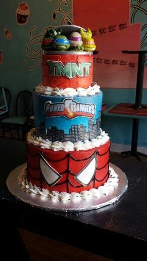 ninja turtles spiderman power rangers cake childrens