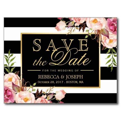 save  date gold floral black white stripes postcard