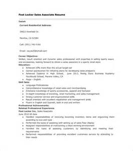 foot locker sales associate resume sle sales associate resume 8 free documents in pdf doc