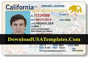 California Drivers License Template  New Updated Psd