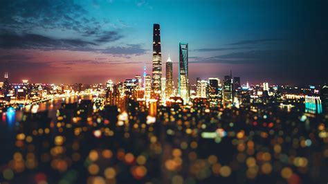 lights night china bokeh city wallpapers hd desktop