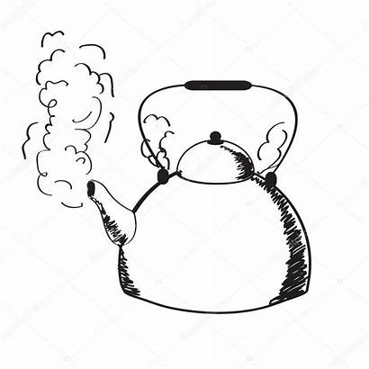 Steam Kettle Boiling Clipart Water Illustration Drawing