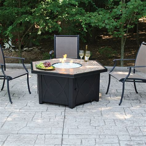 Propane Gas Tile Fire Pit Table With Fire Glass Dfohome