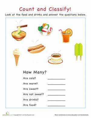 categorization food math kindergarten math worksheets