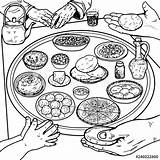 Breakfast Coloring Table Popular Dishes sketch template