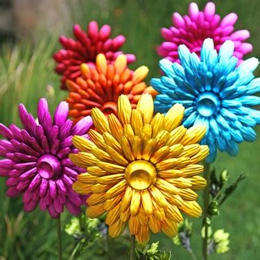 large metal flower garden stakes set of 3 only 49 95 at