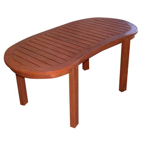 shop wood oval patio coffee table at lowes