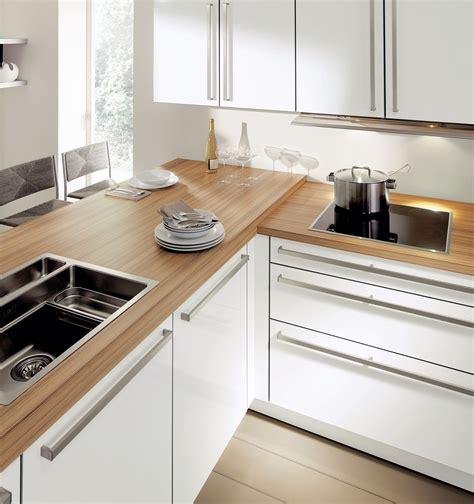 cuisine blanche plan travail bois plan de travail bois