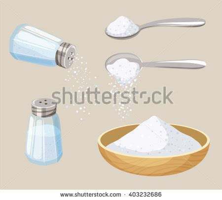 cuisine shaker salt set shaker spoon bowl do stock vector 403232686