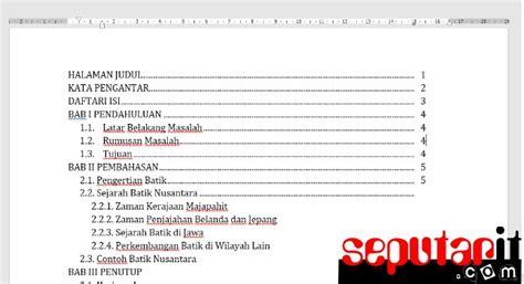 membuat daftar isi secara manual  microsoft word