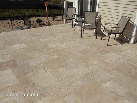 walnut travertine pavers traditional patio miami