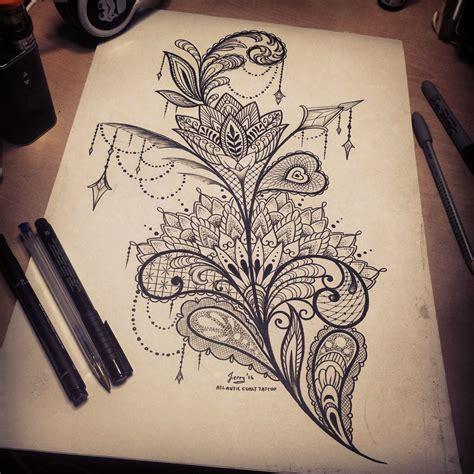 feminine mandala lace tattoo design idea thigh tattoo