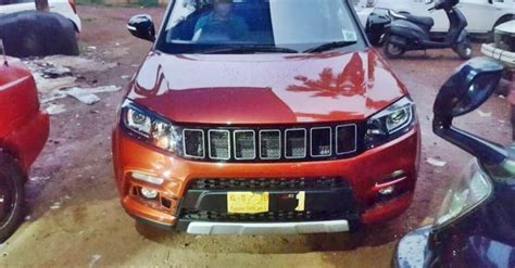 maruti vitara brezza  custom jeep compass inspired grille