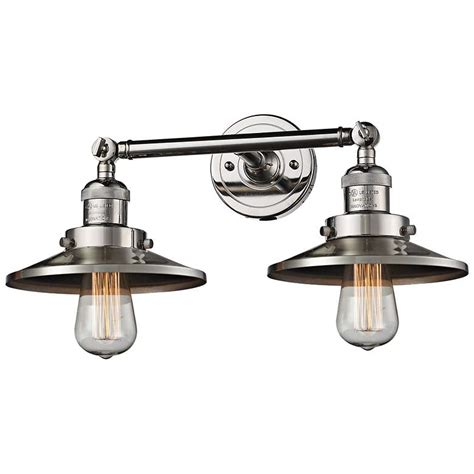 railroad 8 quot h polished nickel 2 light adjustable wall
