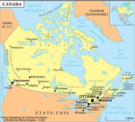 Carte Du Canada Avec Villes carte du canada cartes des villes du relief