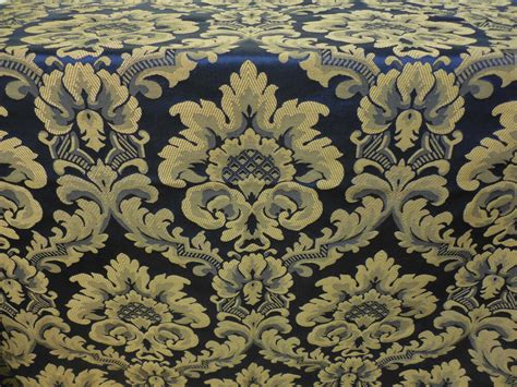 Brocade Upholstery Fabric - blue gold brocade drapery upholstery fabric by merrimac