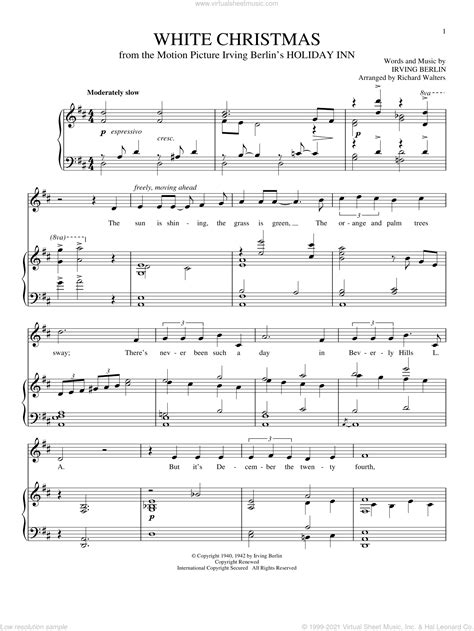 Sheetmusic2print's complete catalog of sheet music for christmas, including christmas songs, carols and hymns. Berlin - White Christmas sheet music for voice and piano PDF
