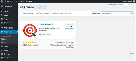integrate zoho salesiq  wordpress plugin