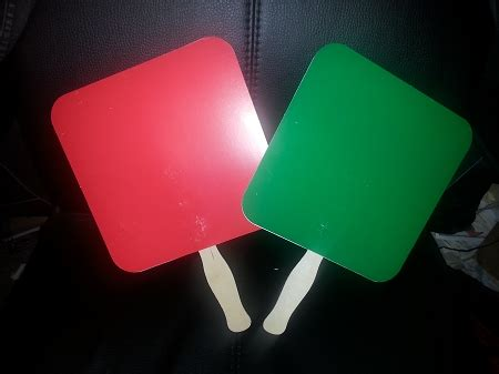 red  green paddle fans