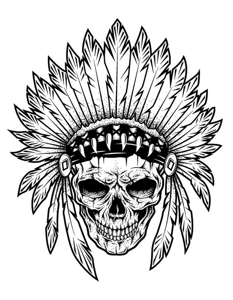 Tattoo indian chief skull - Tattoos Adult Coloring Pages