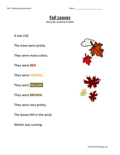 reading comprehension worksheet fall leaves