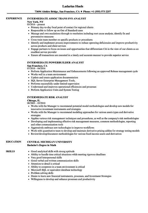 analyst intermediate resume samples velvet jobs